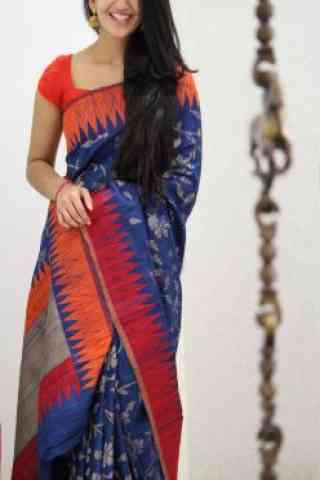 Attractive Blue And Red Color Soft Silk Designer Sarees - cnd970