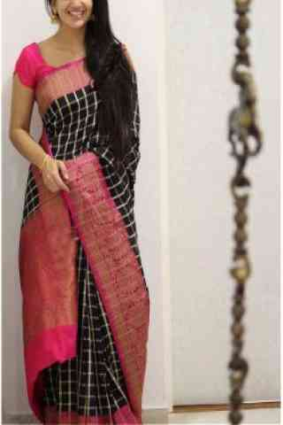Unique Black And Pink Color Soft Silk Designer Sarees - cnd982