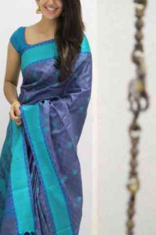 Unique Blue Color Soft Silk Designer Sarees - cnd983