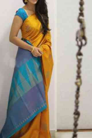 Glammrous  Yellow Color Soft Silk Designer Sarees - cnd988