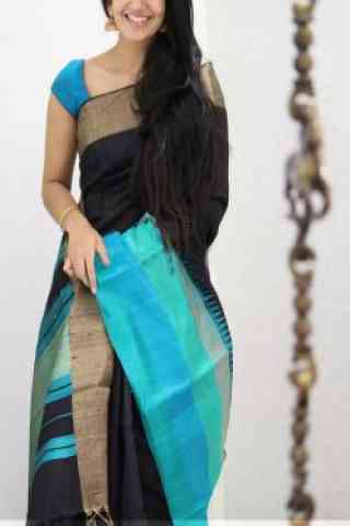 Amazing Black Color Soft Silk Designer Sarees - cnd993