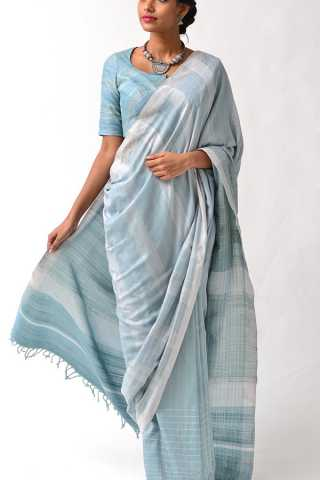 Beautiful Summery Sky Blue Soft Silk Saree