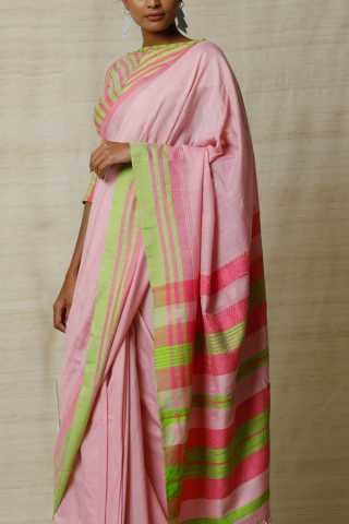 Heart-Stealing Vibrant Soft Silk Pink and Green Saree