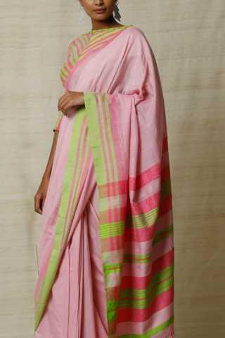 Heart-Stealing Vibrant Soft Silk Pink and Green Saree
