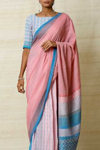 Classic Pink and Blue Soft Silk Saree