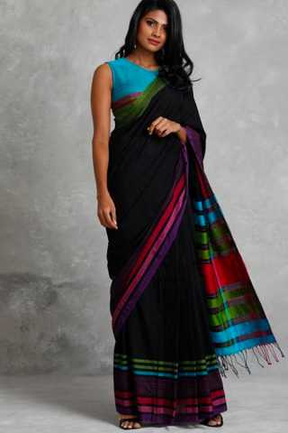 Marvellous Black colour Soft Silk Saree with Blouse For Women