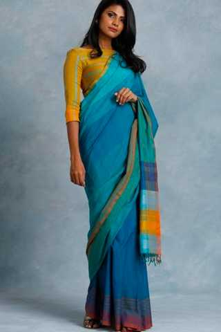 Appealing Sky Blue - yellow colour Soft Silk Saree with Blouse For Women