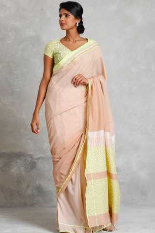 Captivating Cream Colored Soft Silk Saree For Women
