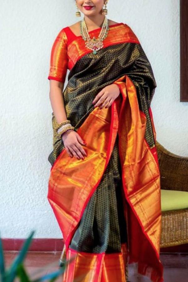 23c9692eb9a0d4 Dashing Black-Orange Colored Soft Silk Saree - CD174