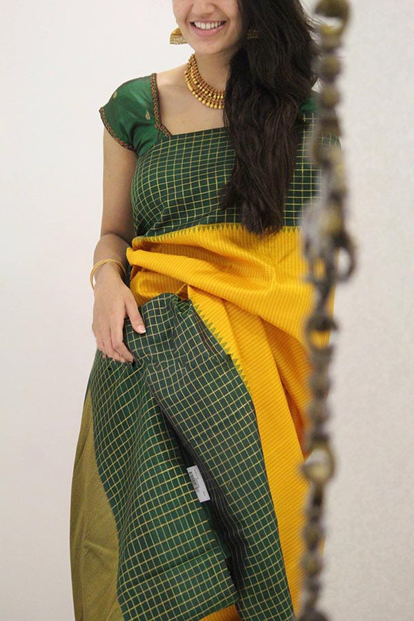 9666867a65 Beautiful Yellow Colored Green Border Designer Soft Silk Party Wear ...