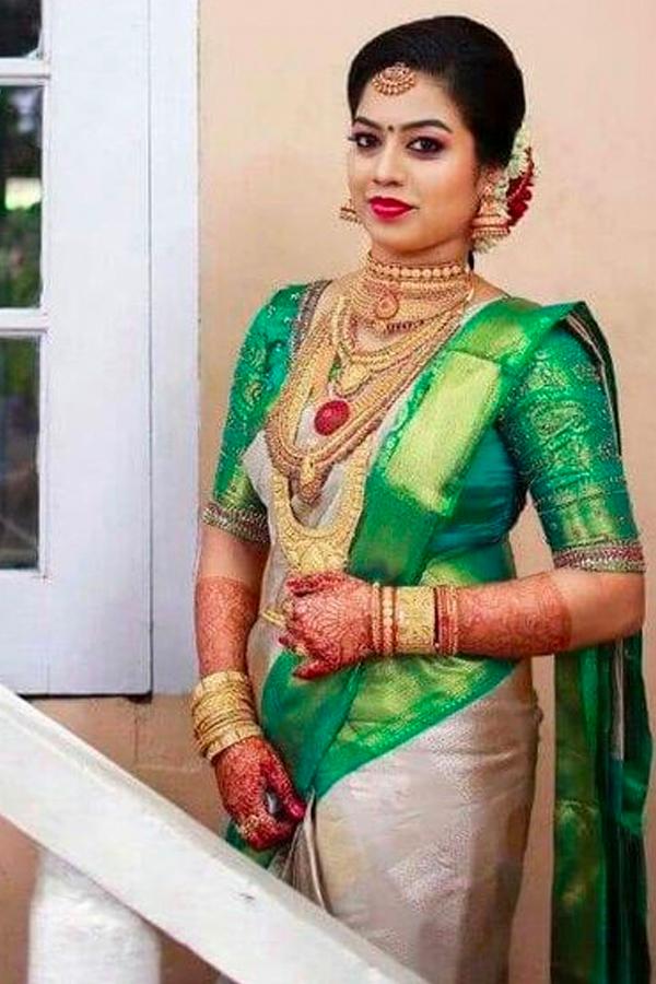White Green Color Designer Chennai Silk Saree Cs56
