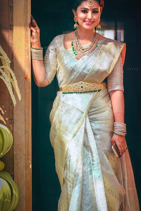 Dull White Shade Chennai Silk Festive Saree Cs71