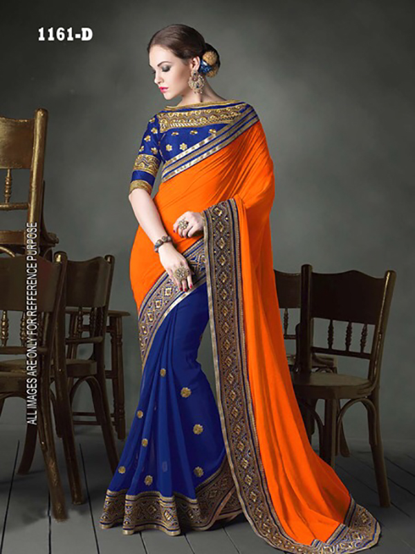 94beadd902a10 Gorgeous Blue-Orange Georgette Embroidered Half-Half Saree For ...