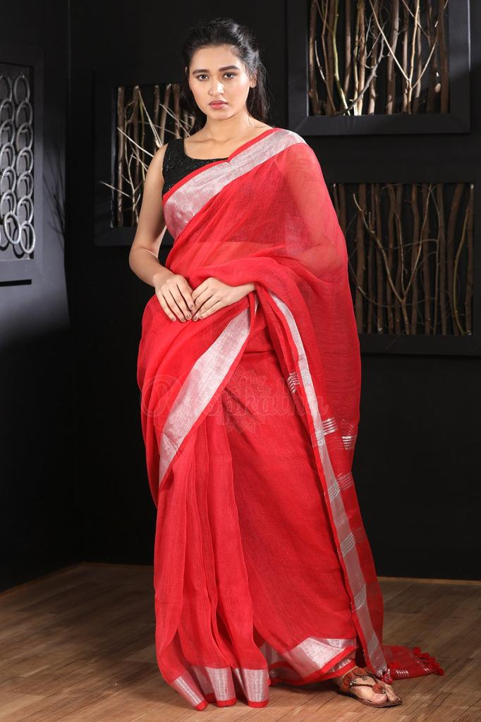 Impressive Red Colored Khadi Silk Saree With Blouse For Women Ka00098