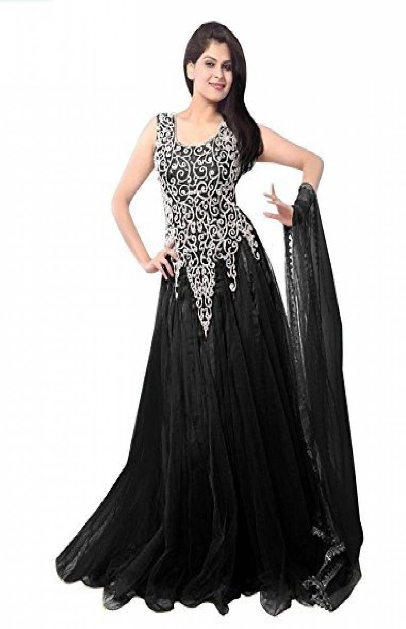 3289430992 ... Colored Designer Partywear Soft Net Gown. L-Black_1.jpg