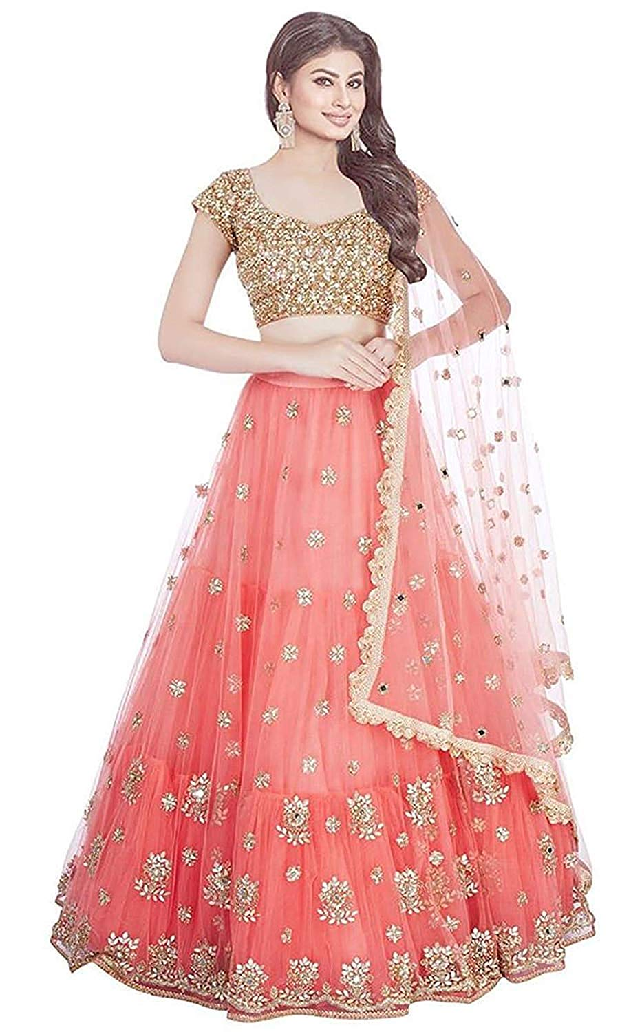8b3f3c7343 Unique Gajari Pink - Golden Colored Silk Fabric Beautiful Indian Style ...