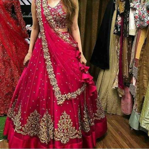 Pink Colored Partywear Designer Embroidered Net With Silk Material Lehenga Choli Bf 2061