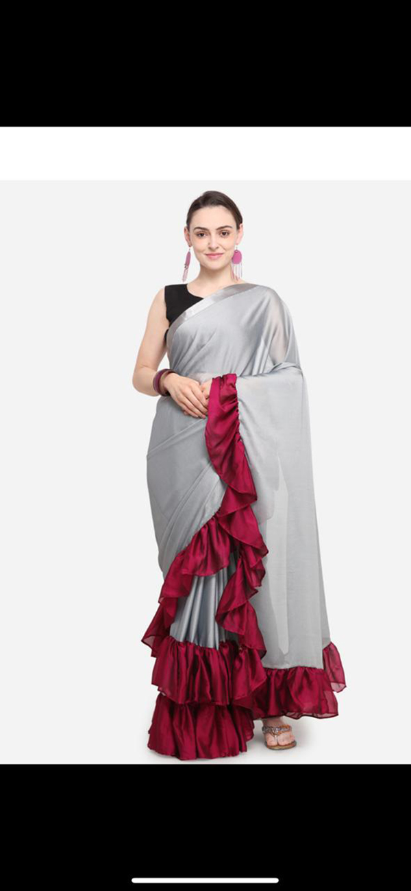 50c38796130 Georgette Sarees   Pretty Grey Colored Georgette Solid Ruffle Saree For  Women. LSD07 1.jpg