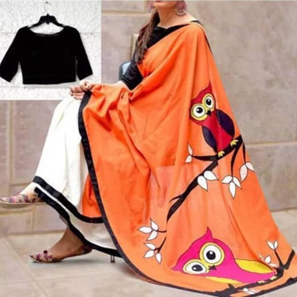 45f8cdc7f28eb ... Orange N Black Color Owl Printed Silk Saree With blouse. Orange Black   Saree 1.JPG