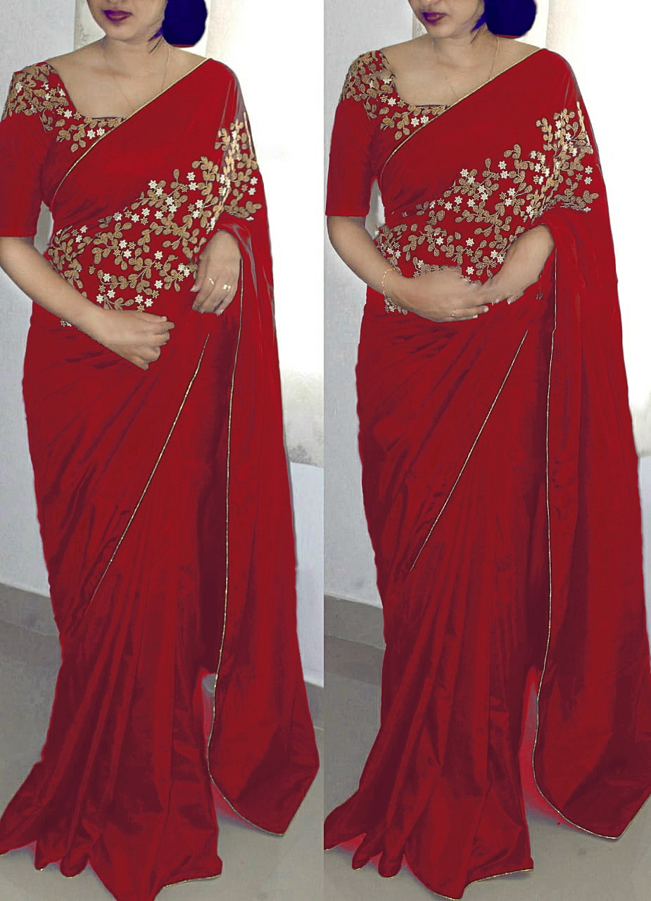 6ab5a61152773 ... Paper Silk Embroidered Designer Saree with blouse piece.  RedPapersilk 1.jpeg