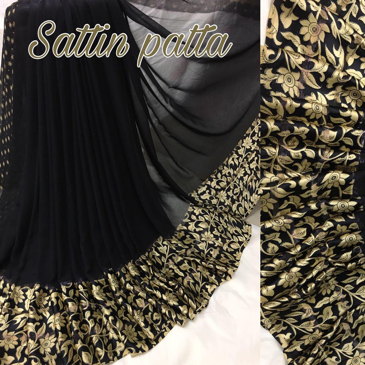 f1ff6e0f1b Delightful Black Designer Printed Georgette Satin Patta Saree - SPBLK2