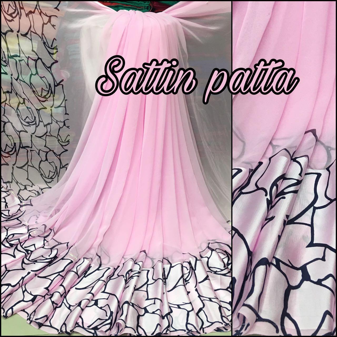 b7d348f645 Pleasant Pink Designer Printed Georgette Satin Patta Saree - SPPNK2