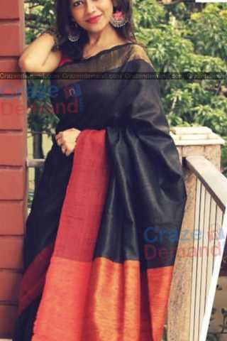 Blooming Black Colored Karwa Chauth Special Soft Silk Festive Wear Saree - CD347