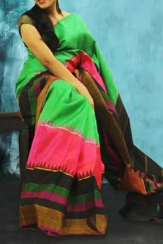 Multi Colored  Traditional Silk Saree With Blouse For Women - CD535
