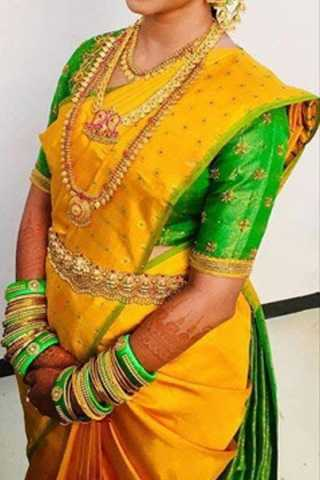 Yellow Colored Traditional Silk Saree With Blouse For Women - CD582