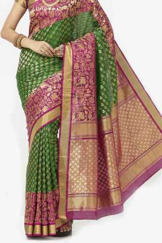 Green Colored Traditional Silk Saree With Blouse For Women - CD636