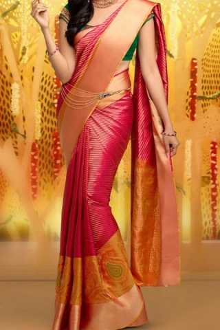 Pink Colored Traditional Silk Saree With Blouse For Women - CD638