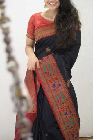 Charming Black Colored Soft Silk Party Wear Saree