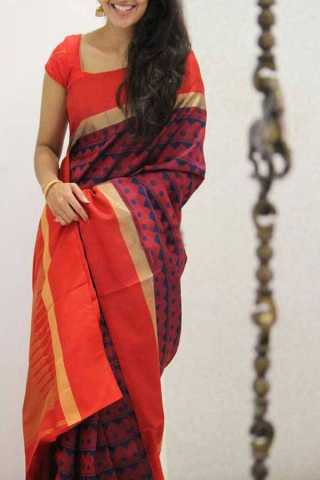 Red Colored Silk Saree For Women - CND1930