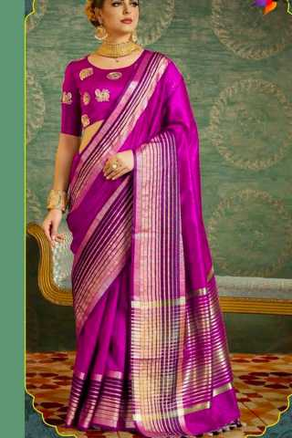 Gleaming Wedding Wear Soft Silk Saree 30""