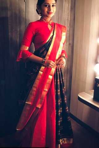 Intricate Black-Red Colored Wedding Wear Soft Silk Saree
