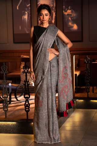 Pretty Grey Colored solid Khadi Silk Saree With Blouse For Women - KA00075