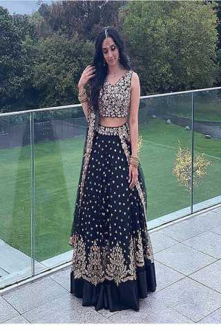 Black colored partywear designer embroidered net with silk material lehenga choli-lc257