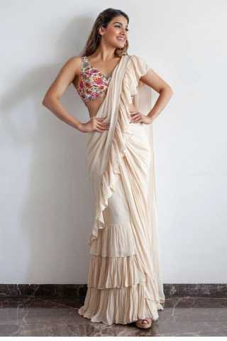 Desirable Off White Georgette Solid Ruffle Saree With Blouse For Women