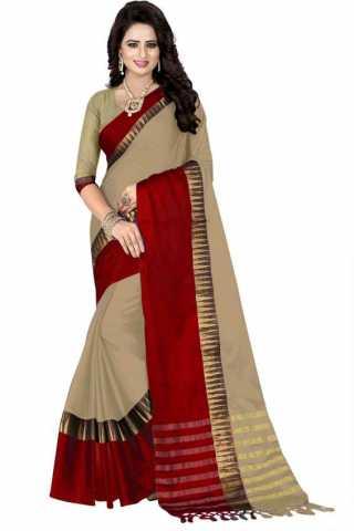 Dynammic Beige Color Cotton Silk Red Border Saree - NCSBIGRED