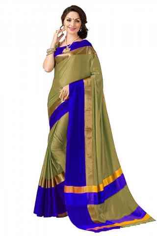 Divine Beige Color Poly cotton Fabric Striped Pattern Saree_CND_PC22