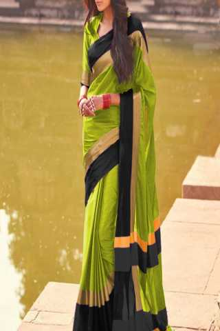 Dashing Lime Green and Black Color Poly Cotton Saree