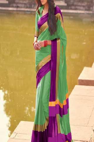 Scintillating Parrot Green- purple Color Poly Cotton Saree