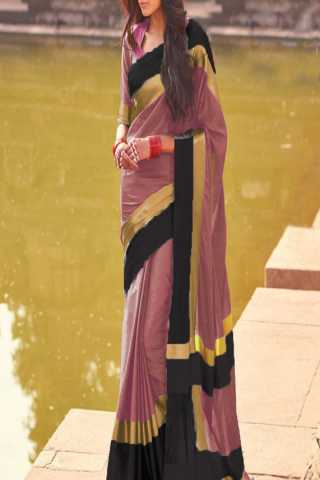 Pleasurable Pink-Black Color Poly Cotton Saree