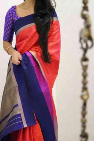 Artistic Red And Blue Color Soft Silk Designer Sarees - cnd1018