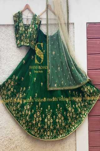 Green  embroidered attractive party wear lehenga lc--237