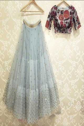 Grey colored blouse embroidered work attractive party wear lehenga choli --lc245