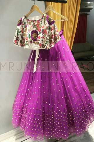 Purple colored blouse embroidered work attractive party wear lehenga choli --lc247