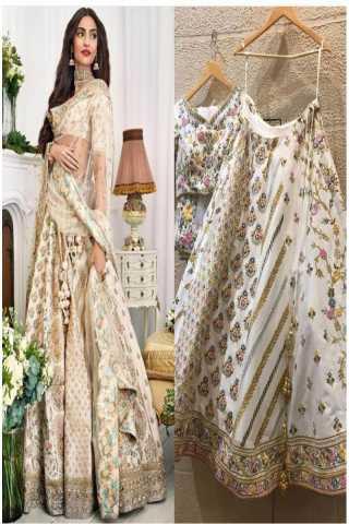 White colored party wear lehengha choli with embrodariy work -lc260