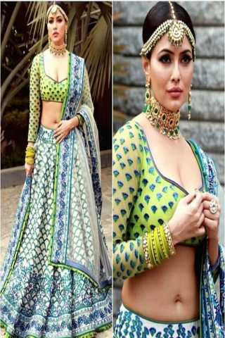 Perrot green n blue colored satin silk printed designer lehengha choli lcp8