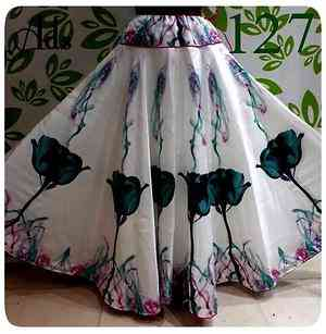 Multi Color Bengalore Silk Printed Free Size Skirt - U127